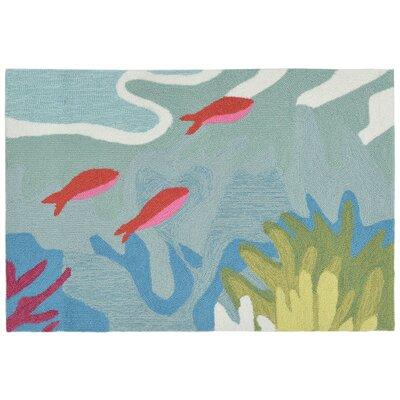 Clowers Ocean View Hand-Tufted Blue Indoor/Outdoor Area Rug Rug Size: 2 x 3