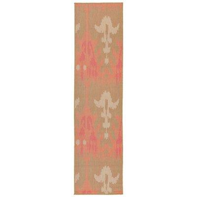 Coeur Ikat Pink/Green Indoor/Outdoor Area Rug Rug Size: Runner 111 x 76