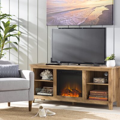 Sunbury 58 TV Stand with Optional Fireplace Color: Barnwood, Fireplace Included: Yes