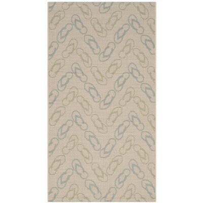 Lake Park Beige/Aqua Indoor/Outdoor Area Rug Rug Size: Rectangle 27 x 5