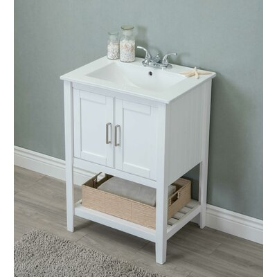 Tamecca 24 Single Bathroom Vanity Set Base Finish: White
