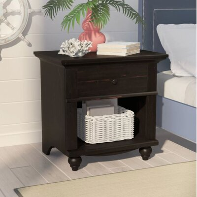 Pinellas 1 Drawer Nightstand Finish: Antiqued Black