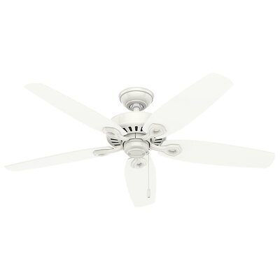 52 Builder Elite 5-Blade Outdoor Ceiling Fan Finish: Snow White with Snow White/Light Stripe Blades