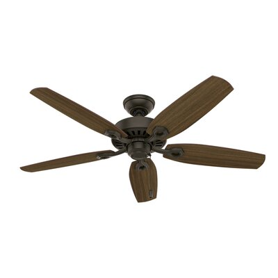 52 Builder Elite 5-Blade Ceiling fan Finish: Bronze with Harvest Mahogany/Brazilian Cherry Blad