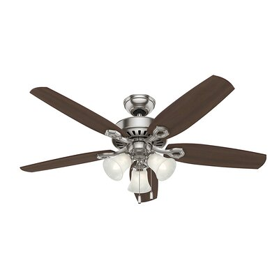52 Builder Elite 5-Blade Ceiling Fan Finish: Brushed Nickel with Brazilian Cherry/Harvest Mahog