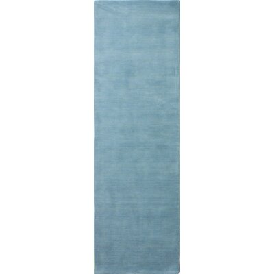 Huslia Hand-Woven Light Blue Area Rug Rug Size: Runner 26 x 8
