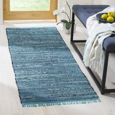 Inkom Hand-Woven Cotton Blue Area Rug Rug Size: Runner 23 x 6