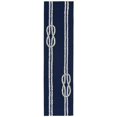 George Hand-Tufted Navy Blue Indoor/Outdoor Area Rug Rug Size: Runner 2 x 8
