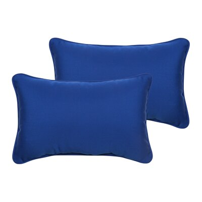 Derrytown Indoor/Outdoor Sunbrella Lumbar Pillow Color: True Blue, Size: 13 H x 20 W