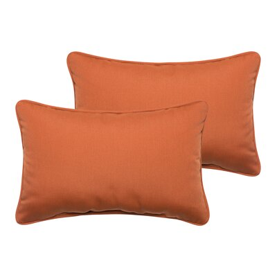 Derrytown Indoor/Outdoor Sunbrella Lumbar Pillow Color: Rust, Size: 12 H x 24 W