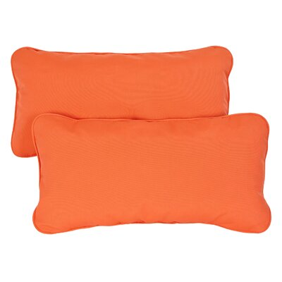 Derrytown Indoor/Outdoor Sunbrella Lumbar Pillow Color: Melon, Size: 12 H x 24 W