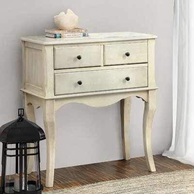 Garrett 3 Drawer Nightstand Color: Antique White