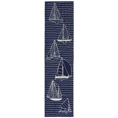 Northfield Sails Water Resistant Handmade Navy Indoor/Outdoor Area Rug Rug Size: Runner 2 x 8