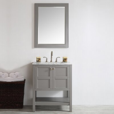 Caldwell 30 Single Bathroom Vanity Set with Mirror Base Finish: Grey