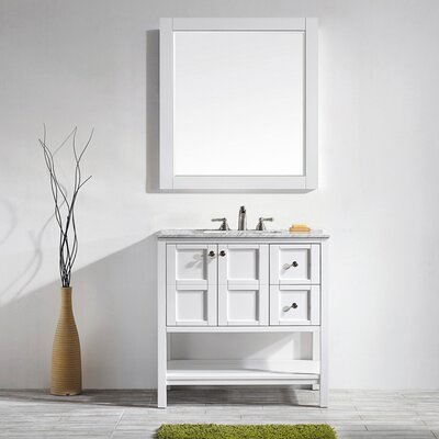 Caldwell 36 Single Bathroom Vanity Set with Mirror Base Finish: White