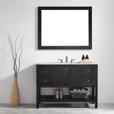 Caldwell 48 Single Bathroom Vanity Set with Mirror Base Finish: Espresso