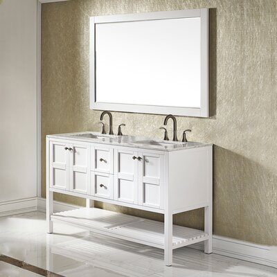 Caldwell 60 Double Bathroom Vanity Set with Mirror Base Finish: White