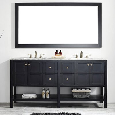 Caldwell 72 Double Bathroom Vanity Set with Mirror Base Finish: Black