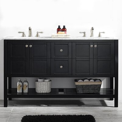 Caldwell 60 Double Bathroom Vanity Set Base Finish: Espresso