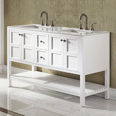 Caldwell 60 Double Bathroom Vanity Set Base Finish: White