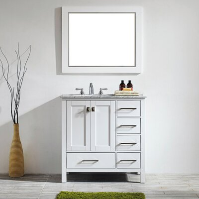 Newtown 36 Single Vanity Set with Mirror Base Finish: White