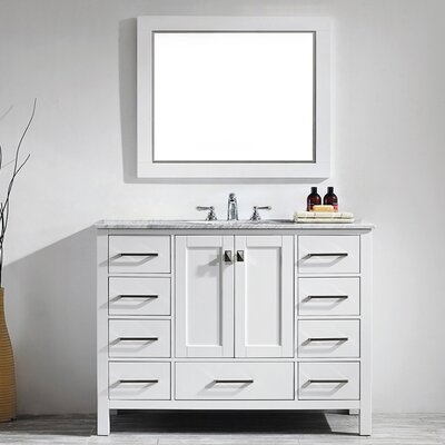 Newtown 48 Single Vanity Set with Mirror Base Finish: White