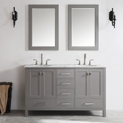Newtown 60 Double Vanity Set with Mirror Base Finish: Gray
