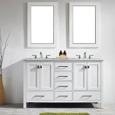 Newtown 60 Double Vanity Set with Mirror Base Finish: White