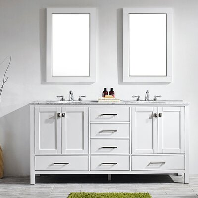 Newtown 72 Double Vanity Set with Mirror Base Finish: White