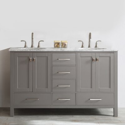 Newtown 60 Double Bathroom Vanity Base Finish: Fossil Gray