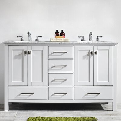 Newtown 60 Double Bathroom Vanity Base Finish: White