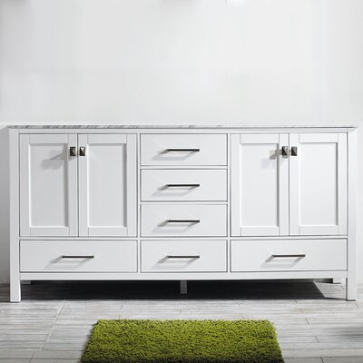 Newtown 72 Double Bathroom Vanity Set Base Finish: White
