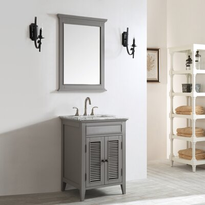 Grovetown 24 Single Vanity Set with Mirror Base Finish: Grey