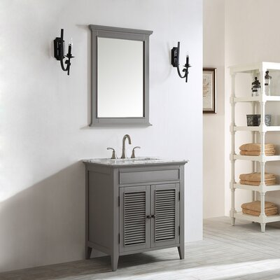 Grovetown 30 Single Vanity Set with Mirror Base Finish: Grey