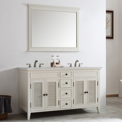 Grovetown 60 Double Vanity Set with Mirror Base Finish: Antique White