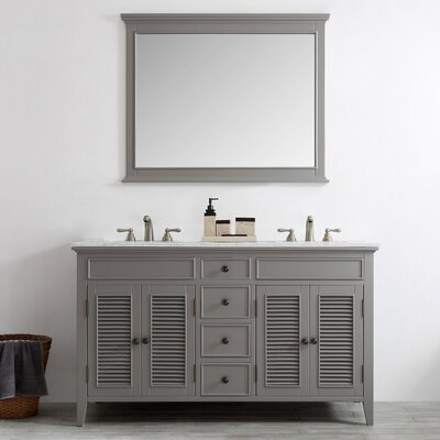Grovetown 60 Double Vanity Set with Mirror Base Finish: Grey