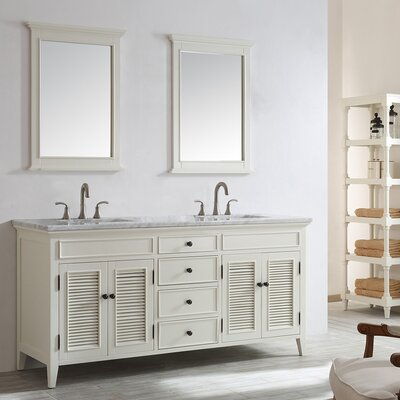Grovetown 72 Double Vanity Set with Mirror Base Finish: Antique White