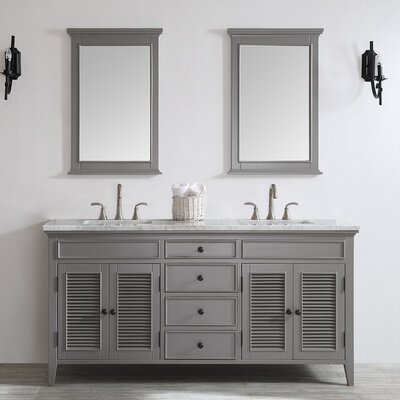 Grovetown 72 Double Vanity Set with Mirror Base Finish: Grey