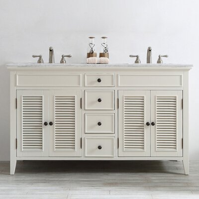 Grovetown 60 Double Vanity Set Base Finish: Antique White