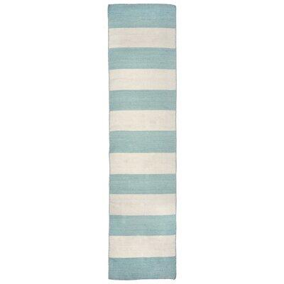 Ranier Stripe Hand-Woven Blue/Beige Indoor/Outdoor Area Rug Rug Size: Runner 2 x 8