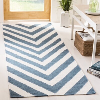 Blaisdell Hand-Woven Blue/Ivory Area Rug Rug Size: Runner 26 x 8