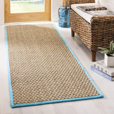 Richmond Natural/Turquoise Area Rug Rug Size: Runner 26 x 8