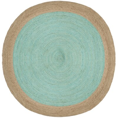 Cayla Fiber Hand-Woven Aqua/Natural Area Rug Rug Size: Round 5