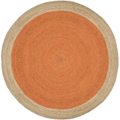 Cayla Fiber Hand-Woven Orange/Natural Area Rug Rug Size: Round 8