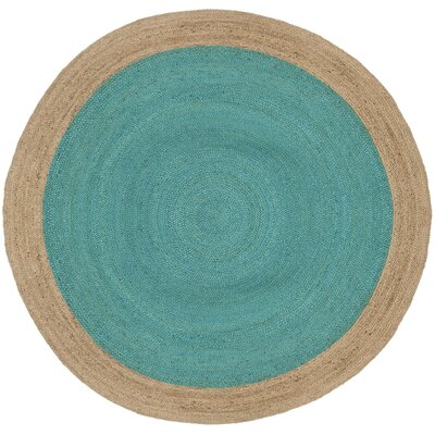 Cayla Fiber Hand-Woven Teal/Natural Area Rug Rug Size: Round 8