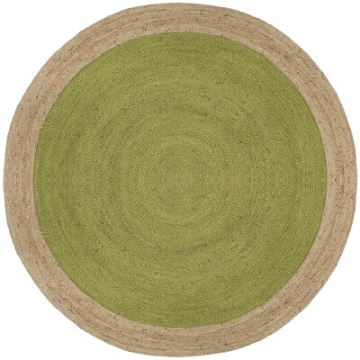 Cayla Fiber Hand-Woven Green/Natural Area Rug Rug Size: Round 4