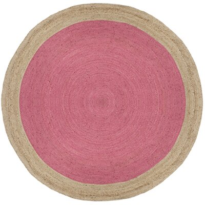 Cayla Fiber Hand-Woven Pink/Natural Area Rug Rug Size: Round 8