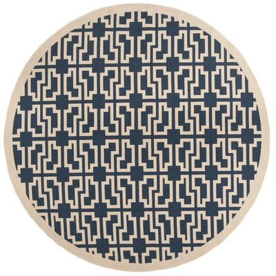 Inverness Highlands Navy/Beige Indoor/Outdoor Area Rug Rug Size: Round 710