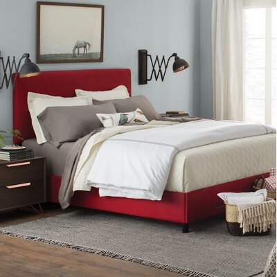 Upholstered Panel Bed Size: Queen, Color: Antique Red