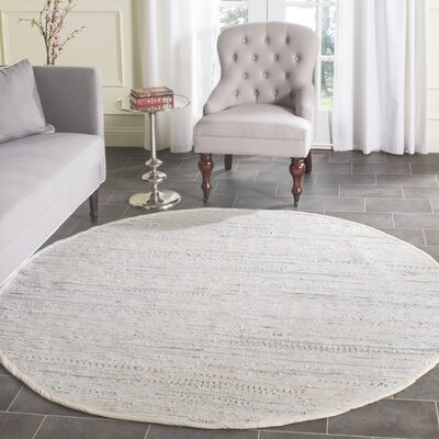Penrock Way Handwoven Cotton White Area Rug Rug Size: Round 8